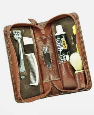 Kit para barbear marrom