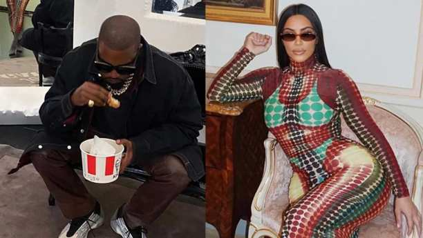 Foto de Kim Kardashian e do marido Kanye West comendo frango