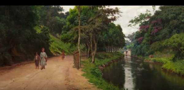 Imagem de pinturas de paisagens: Rio e estrada