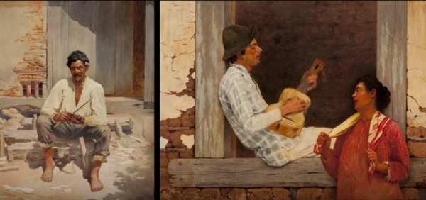 Imagem de pinturas da pinacoteca retratadas no vídeo