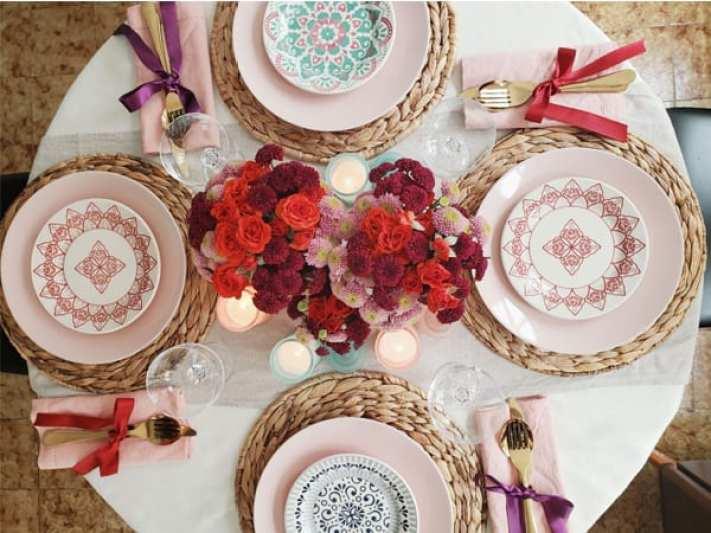 jantar romântico mesa posta