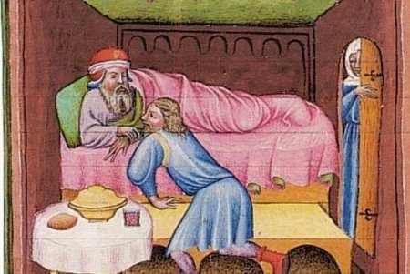 Pintura medievem monstrando homem em traje de dormir