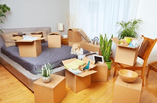 Foto de quarto com caixas de mudança - mudar de casa
