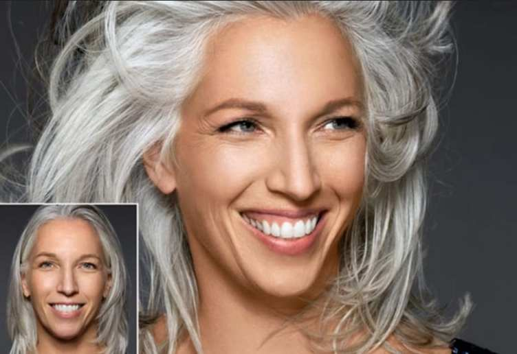 Mulher morena linda de cabelos brancos