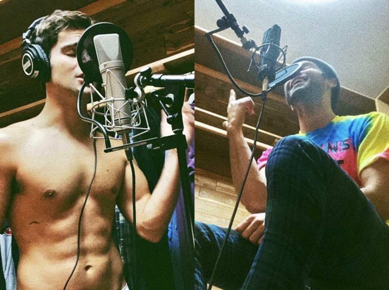 Max cantando e realizando ensaios em estúdio