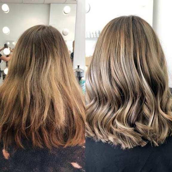 Imagem mostra antes e depois do cabelo com tonalizante