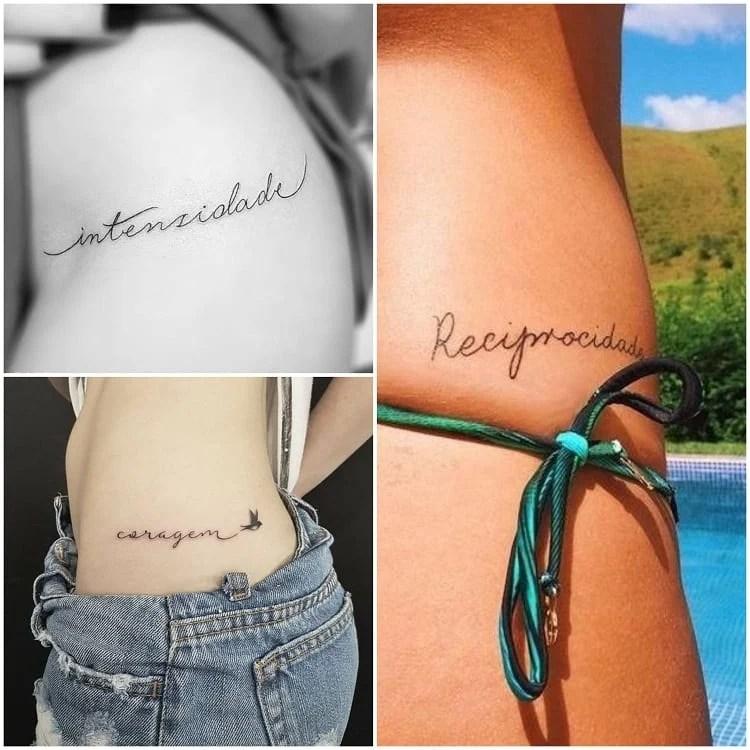 Montagem com três fotos de tatuagem para cintura com palavra