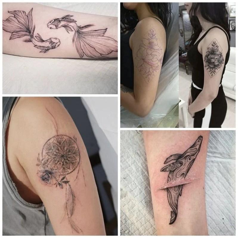 quatro opções de tatuagem para cobrir cicatriz no braço