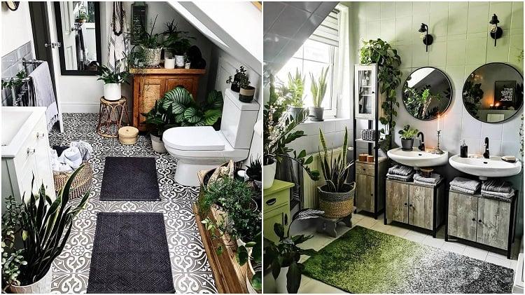 dois banheiros decorados com plantas