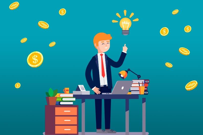 Imagem ilustrativa homem lucrando com a internet