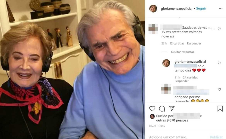 Print que mostra foto de Glória Menezes e Tarcísio Meire, com detalhes dos comentários realizados no Instagram da atriz.