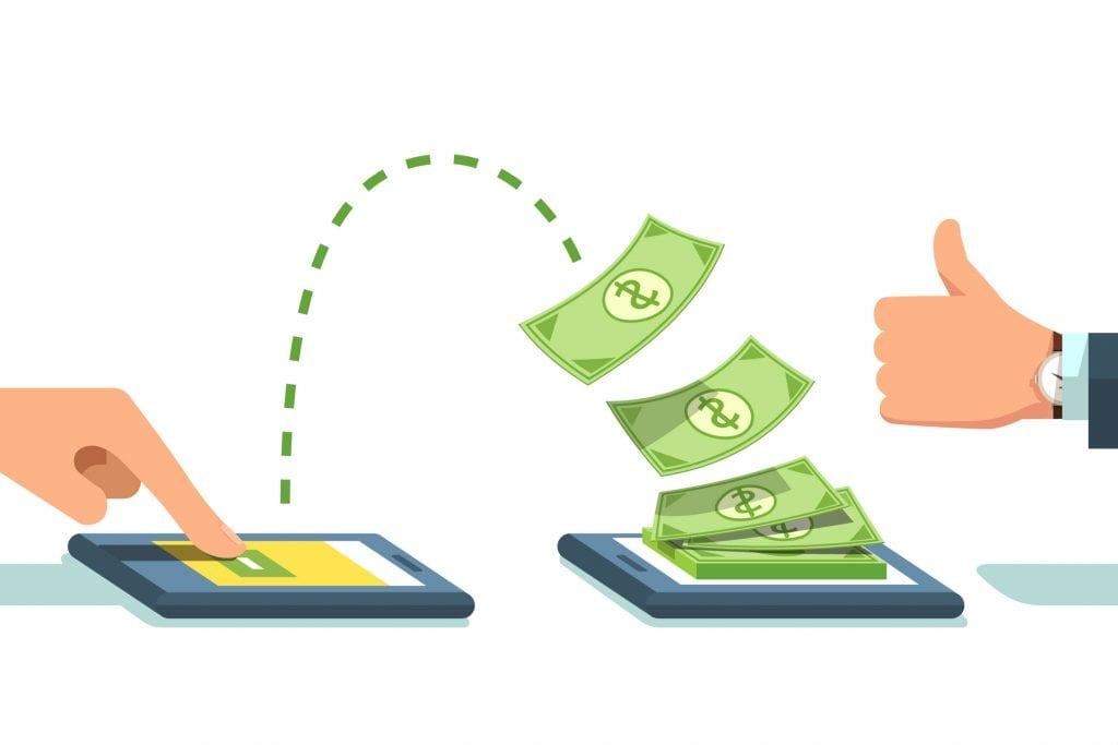 Imagem ilustrativa dinheiro passando de um celular para outro