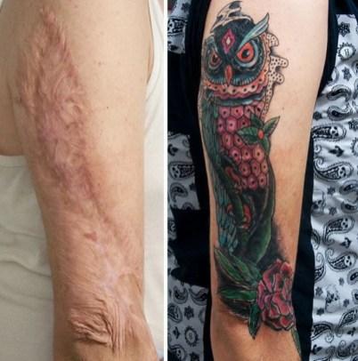 Tatuagem de coruja cobre cicatriz no braço