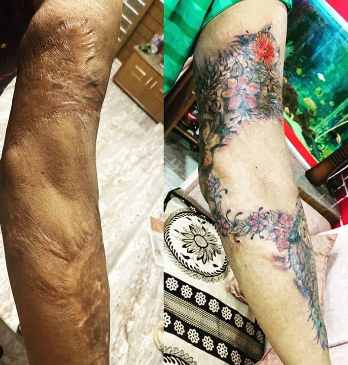 Tatuagem para cobrir cicatriz grande no braço