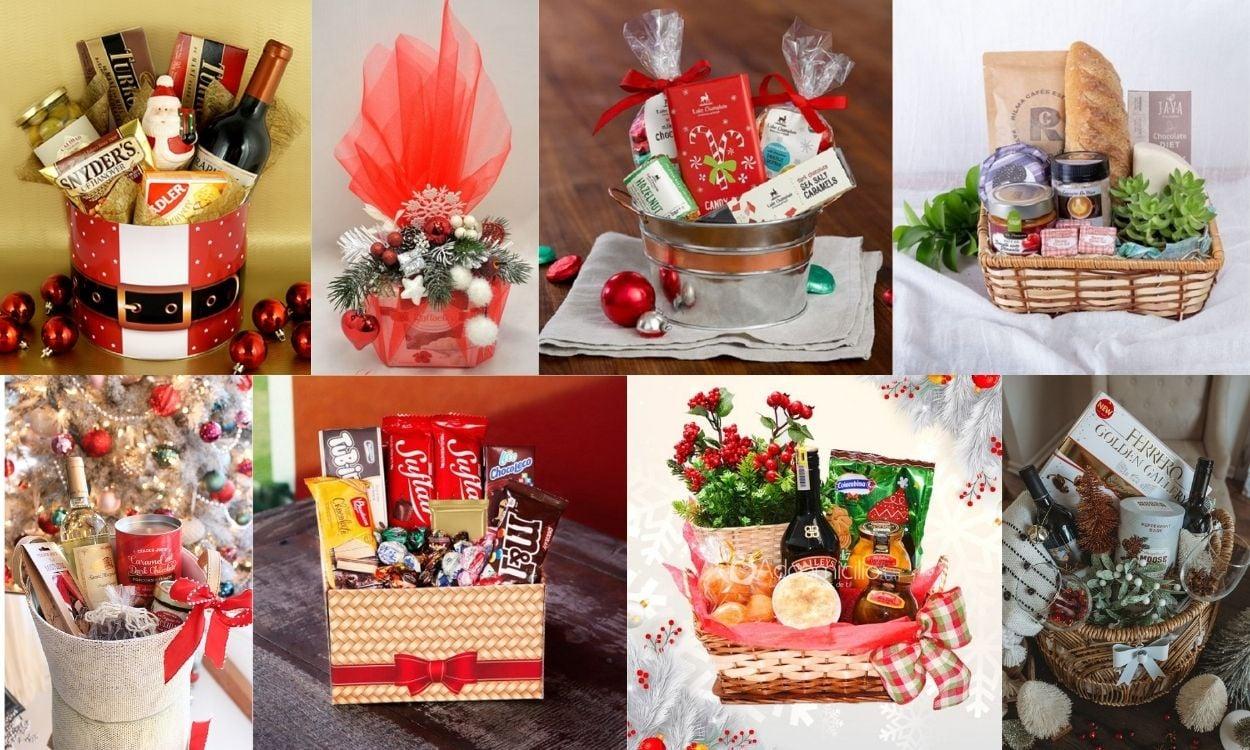 oito opções de cesta de Natal feita em casa