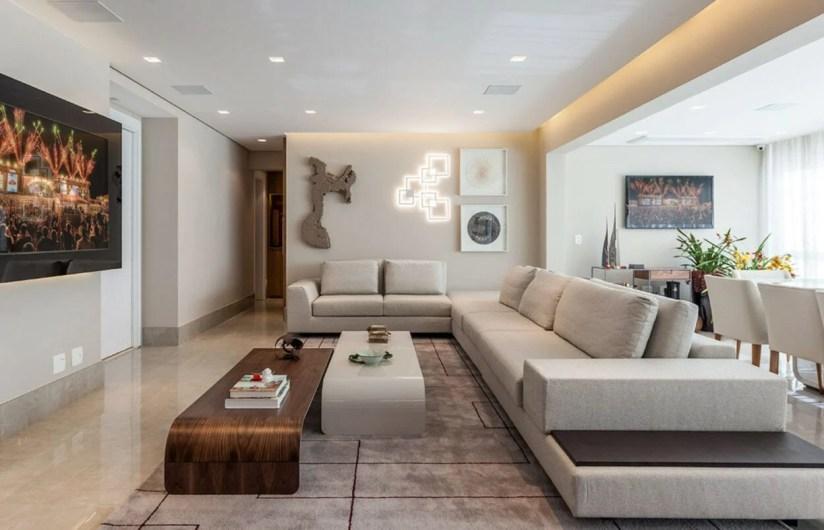 Decor sala ampla minimalista cores neutras