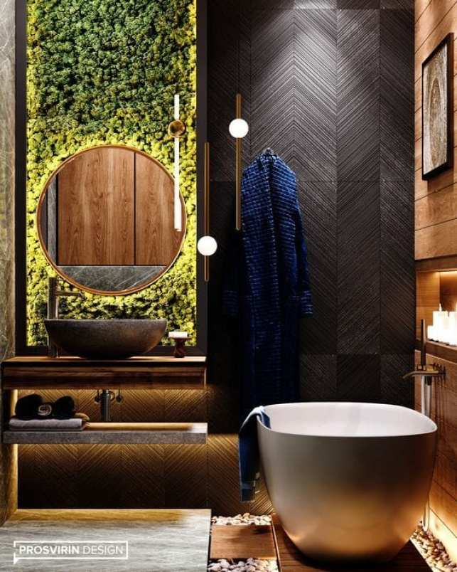 Banheiro com jardim vertical