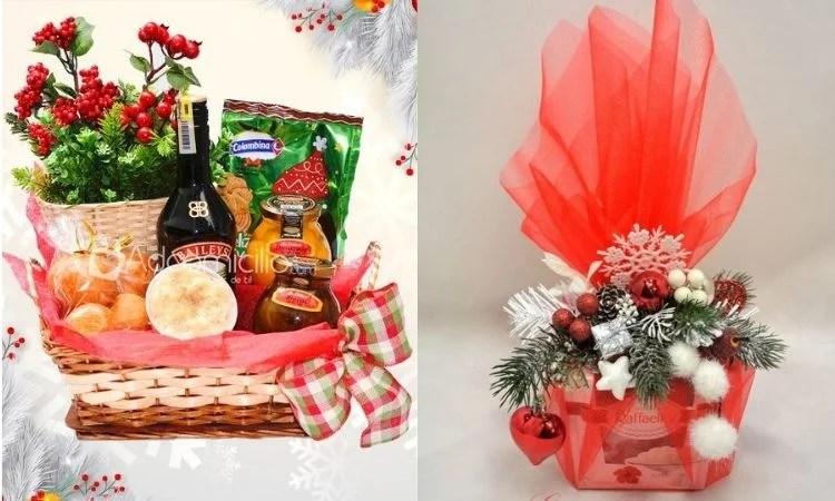 montagem com duas opções de cesta de Natal