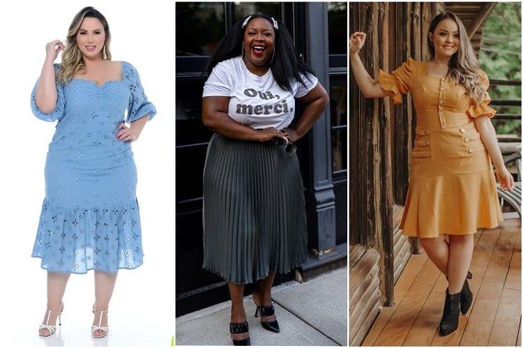 mulheres com as tendências vestido de laise, saia plissada e candy colors