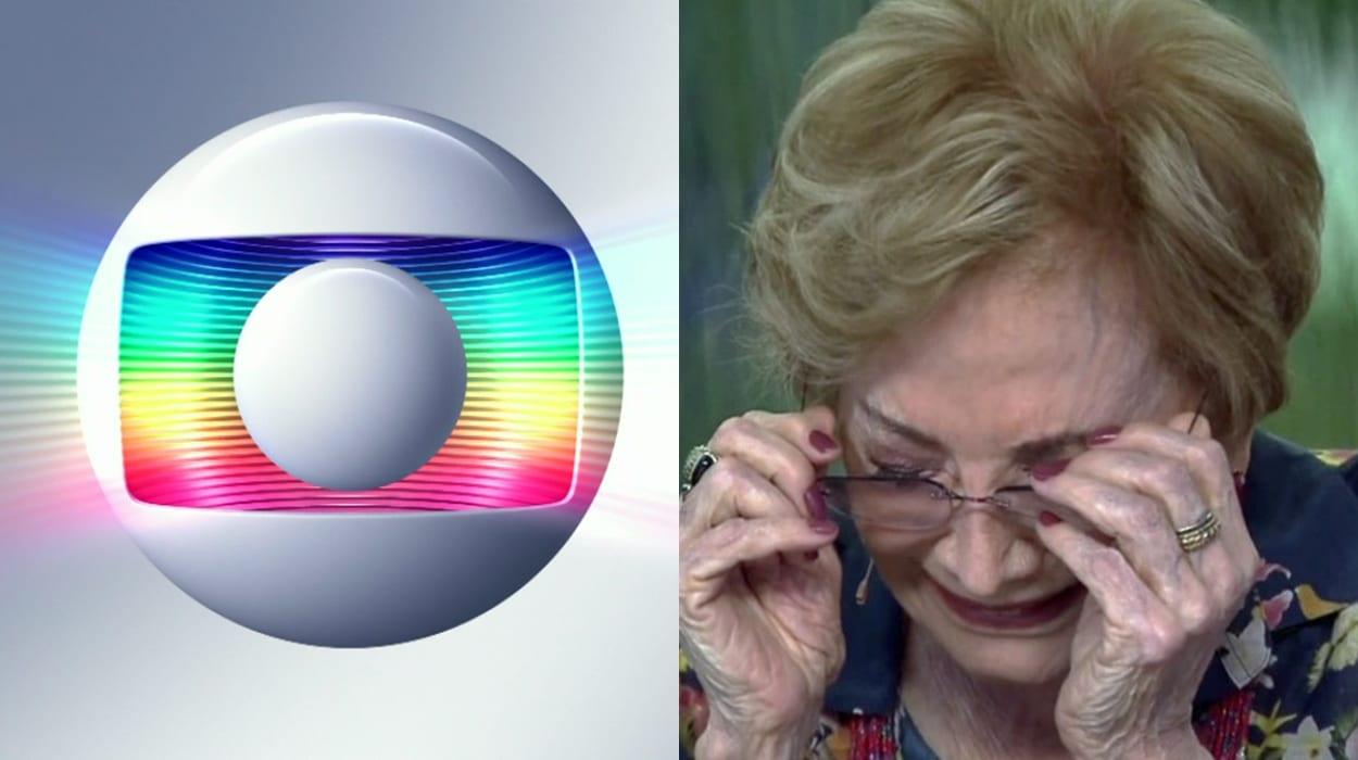 Montagem simbolo da rede globo e atriz Glória Menezes triste