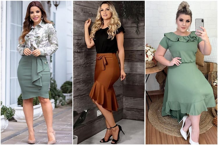 tendências da moda evangélica 2021 plus size: laços, saia sino e babados