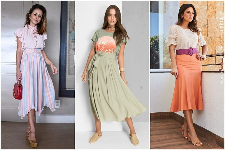 três mulheres com saias mídi em tons pastel, tendência na moda evangélica 2021