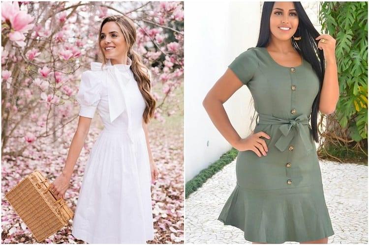 duas mulheres usando vestidos com laços