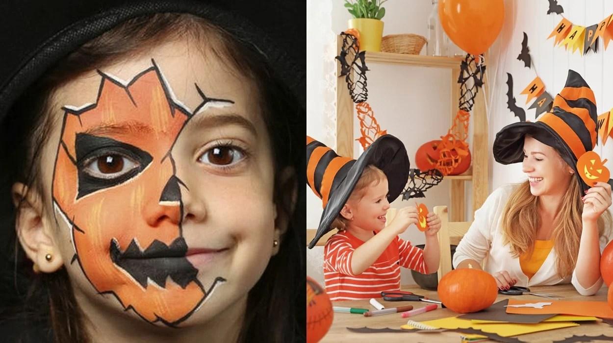 Crianças em Halloween em casa.