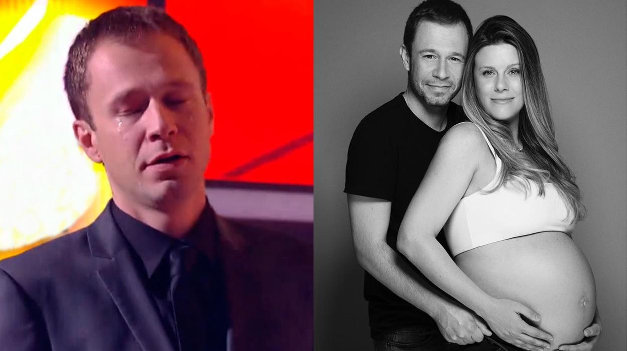 Tiago Leifert e esposa grávida.
