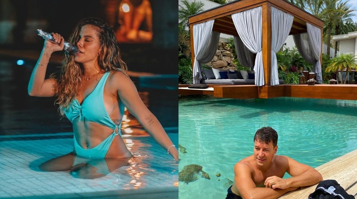 Anitta e Rodrigo Fato em suas piscinas.