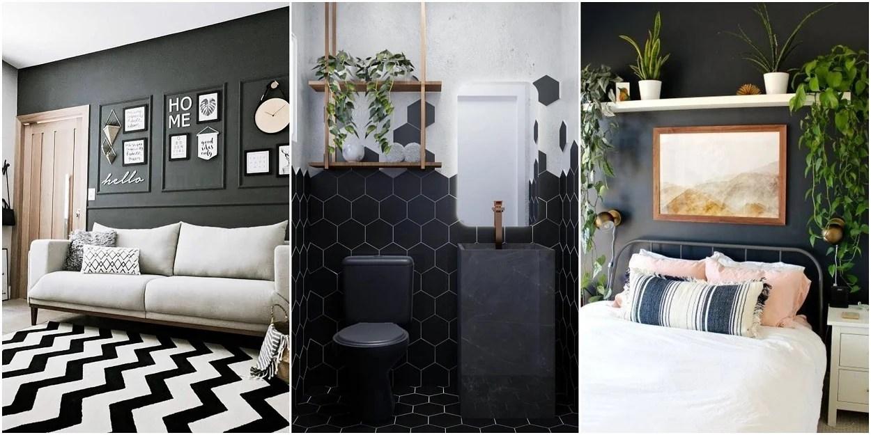 três fotos de cômodos com preto na decoração