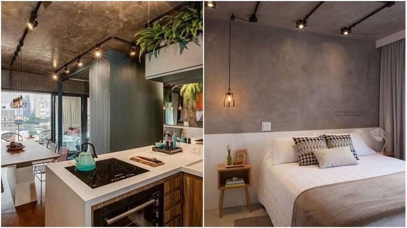 sala de jantar e quarto com tubulações elétricas expostas