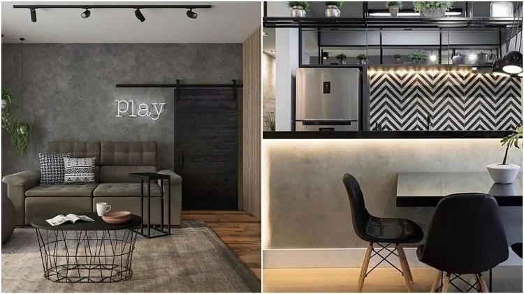 sala e cozinha decoradas com cores neutras
