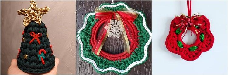 três enfeites natalinos feitos de crochê com fio de malha