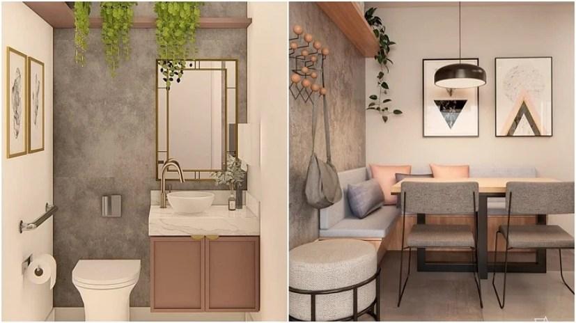 banheiro e sala de jantar decorados