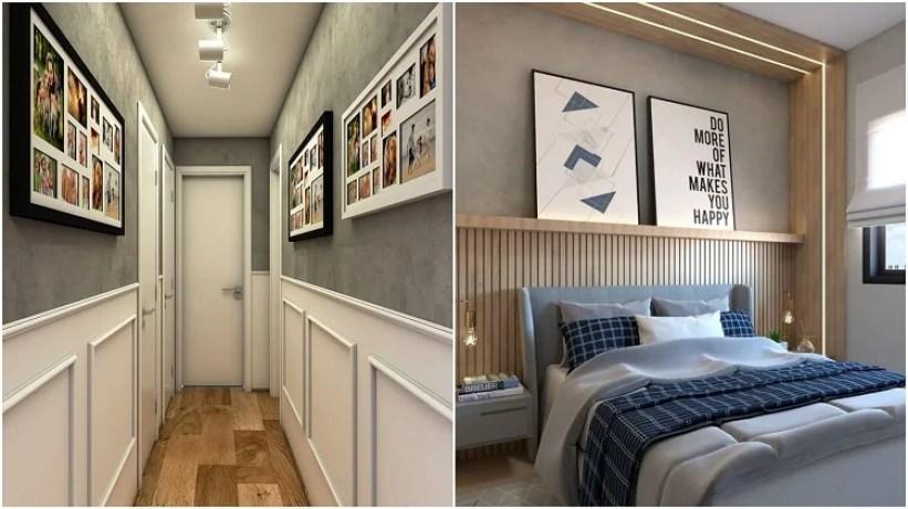 corredor e quarto com meia parede de cimento queimado