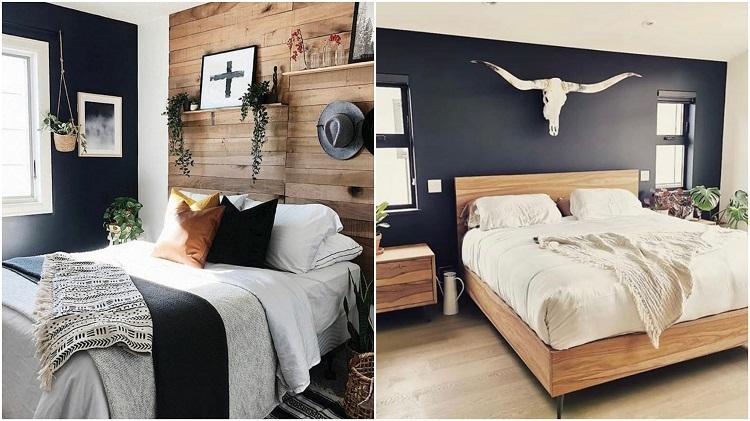 duas fotos de quartos com estilo rústico