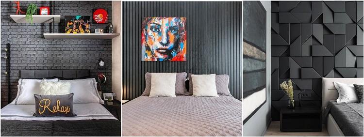 quartos com paredes pretas com textura