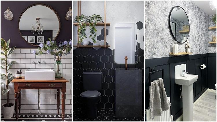 banheiros com meia parede preta