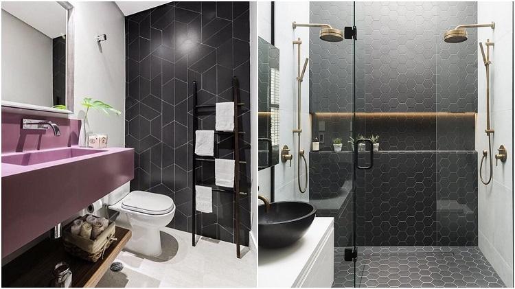 dois banheiros com parede de destaque