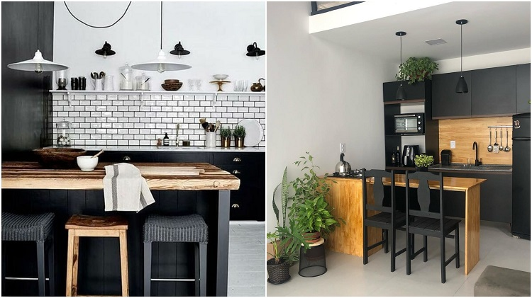 duas cozinhas com preto na decoração