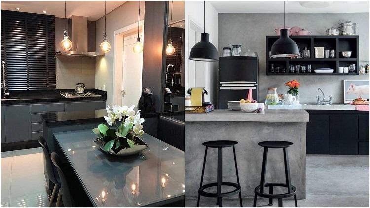 duas cozinhas decoradas com cinza e preto