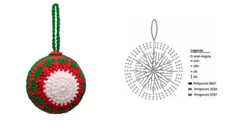 bola de natal coberta com crochê