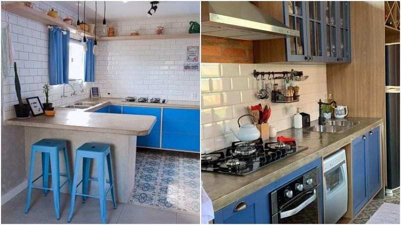 duas cozinhas com armários azuis
