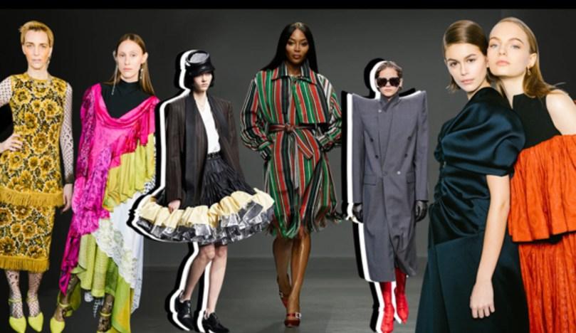 Fashion Weeks e suas Previsões - Montagem com diversas modelos nas passarelas