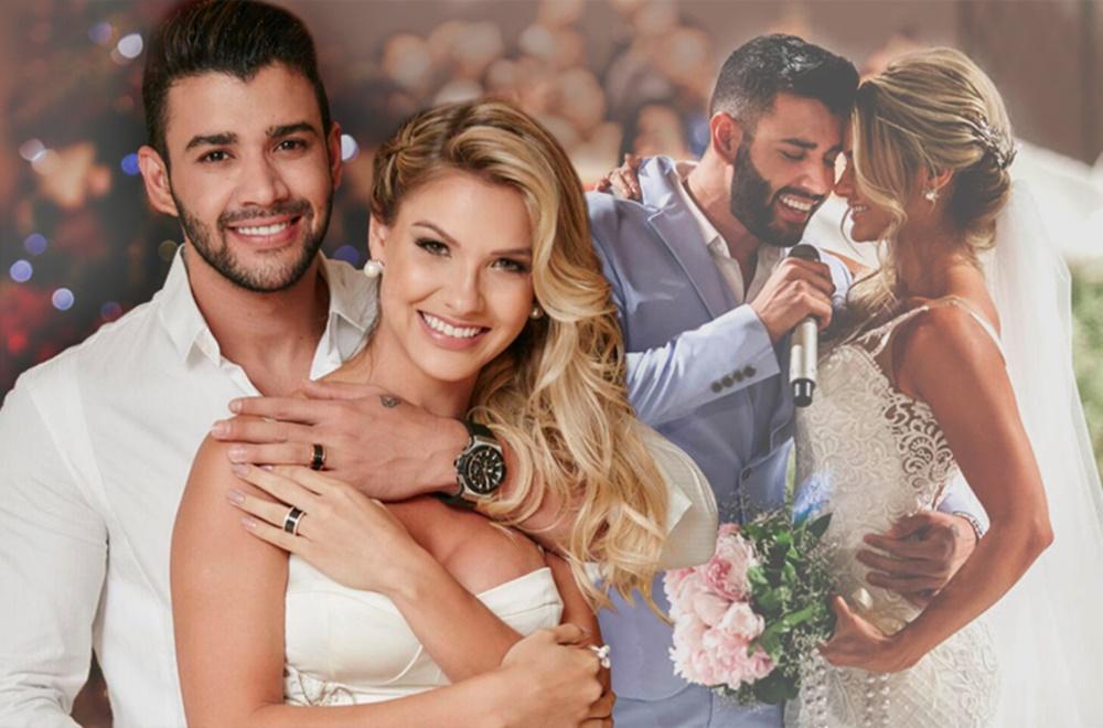 Fotos do ex-casal em casamento.