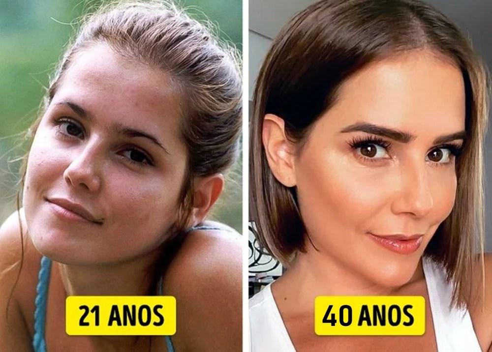 Deborah Secco mais nova e mais velha.