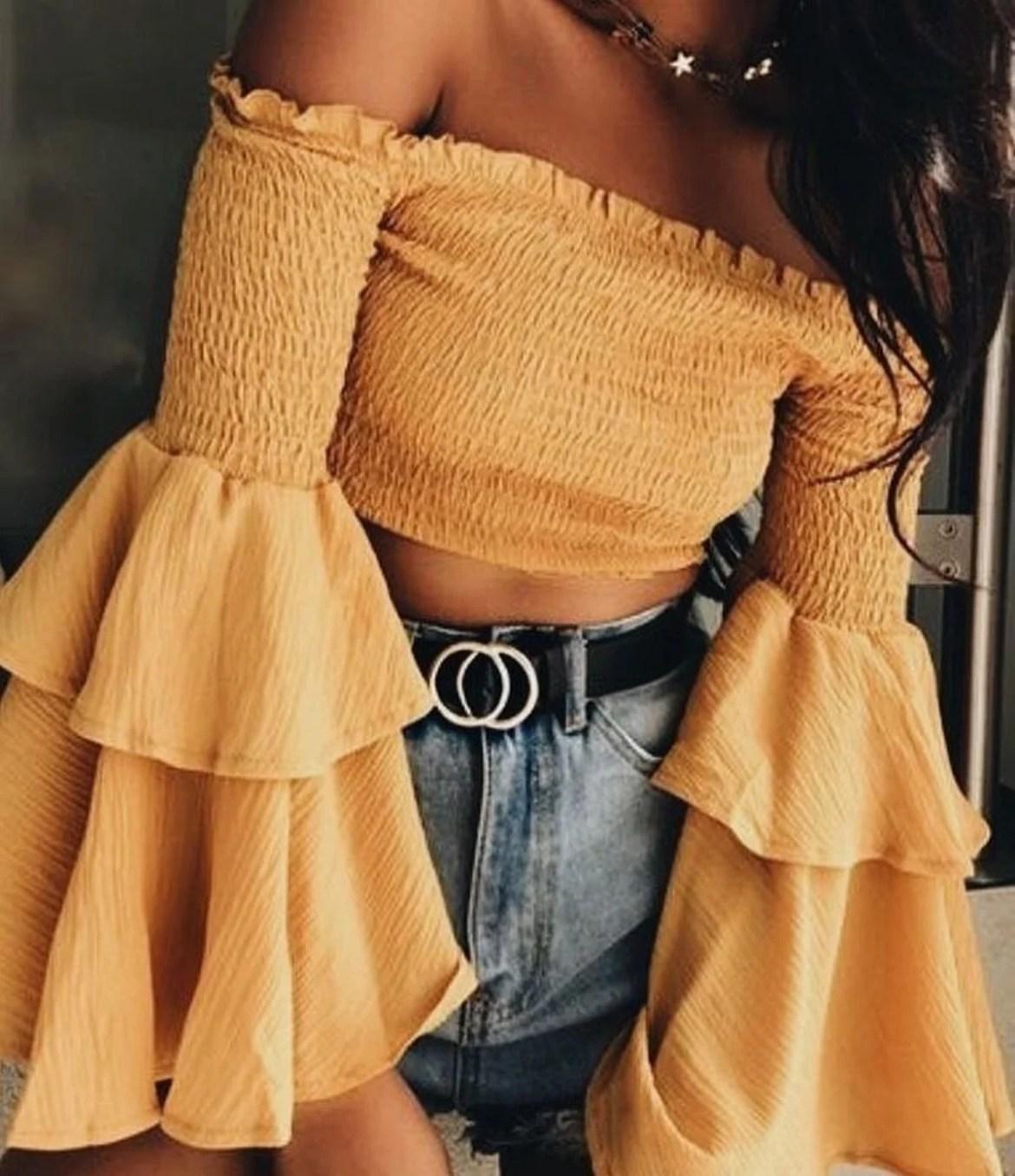 Blusinha amarelo mostarda