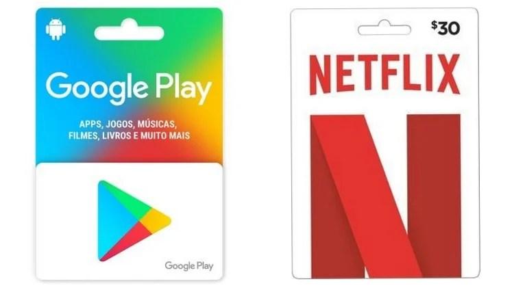 vale-presente para o Google Play e a Netflix