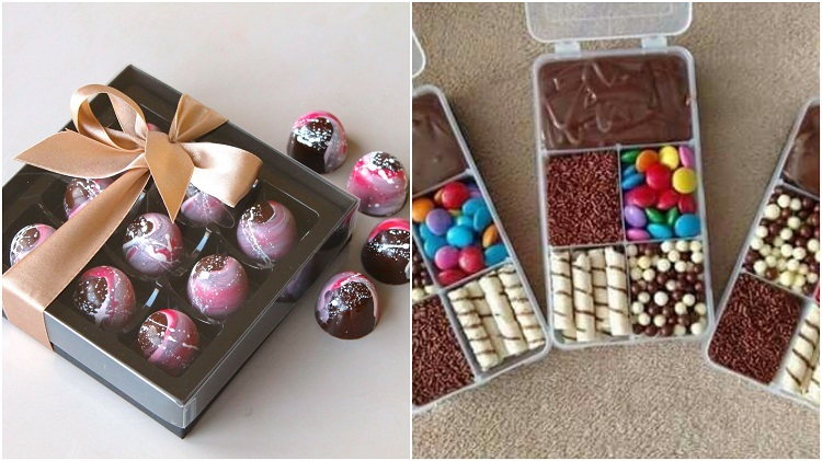 duas ideias de caixas de doces para mini presentes